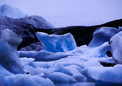Iceberg at night with bear shape