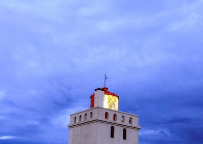 White lighthouse atdusk