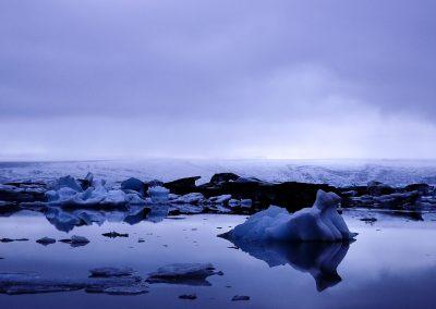 Field of iceberg at night