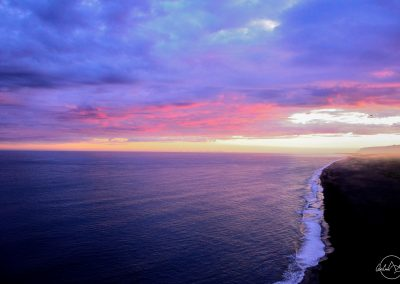 Pink and purple sunset above the sea
