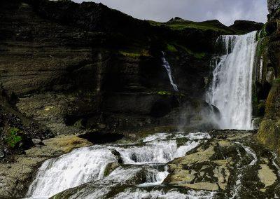 Water falling along rocks