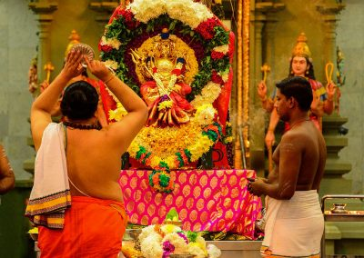 Two men celebrating in an Indian temple