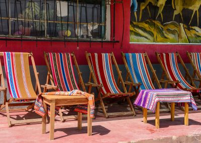 Colorful row of deckchairs