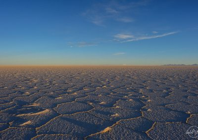 Salar landscape with a warm light at the horizon