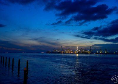 Blue sunrise of the dock