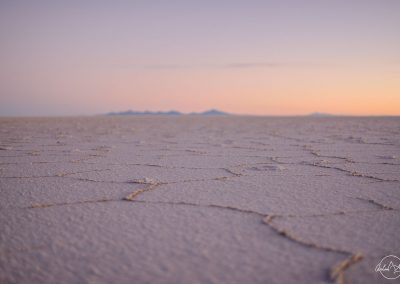 On the ground of the salt desert, focusing on the crackles, at purple sunset