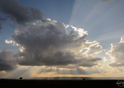 Huge cloud in the sky above kenyan landscape