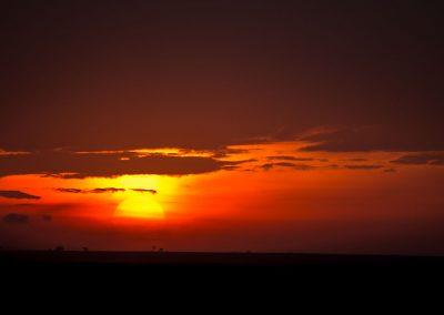 Large round yellow sun rising in red sky in Kenya