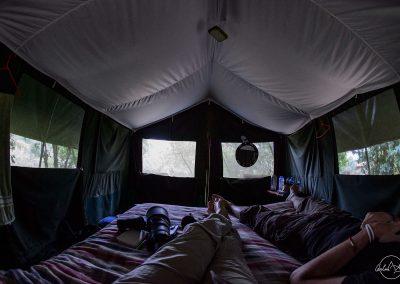Interior of a safari tent