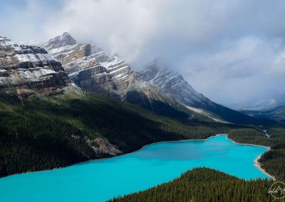 Turquoise lake in the shape of wolf head