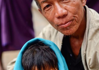 Portrait of a father and son in Myanmar