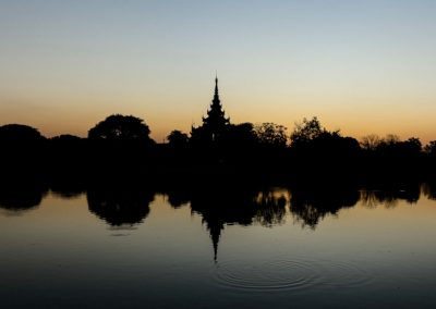 Panorama view of Mandalay castle at sunset