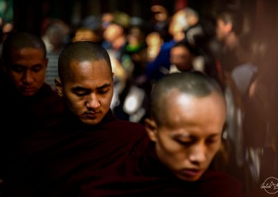Portrait of monks queuing for lunch in Mahagandayon Monastery