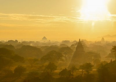 Sun rising through temples and trees, view from the top of a temple