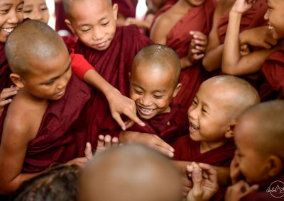 Group of young monks laughing in Bagan