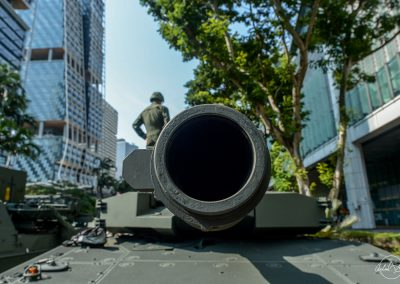 Close up of the cannon of Singapore mobile column