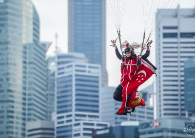 Close up of Singapore red lion about to land on the float