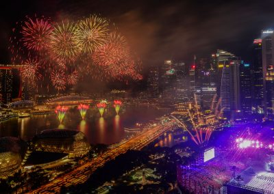 Singapore National Day Parade fireworks finale from Swiss hotel