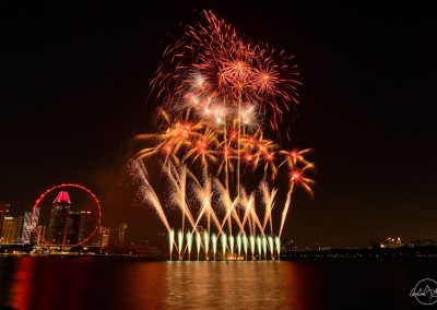 Marina Barrage fireworks viewed from the bay