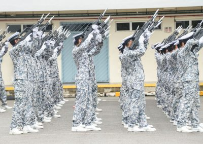 Singapore navy soldiers training for presidential gun salute