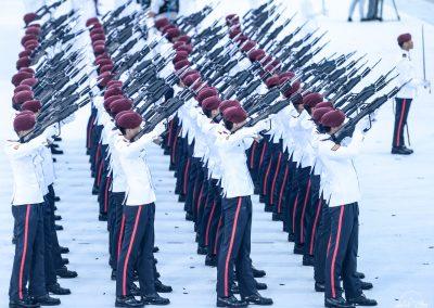 Soldiers performing presidential gun salute in Padang