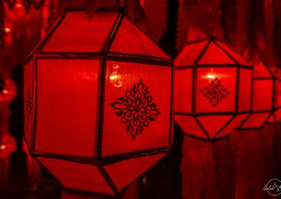 Red thai lantern litten up at night