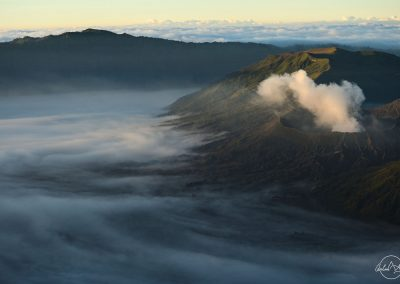 Clouds evaporing from mount Bromo
