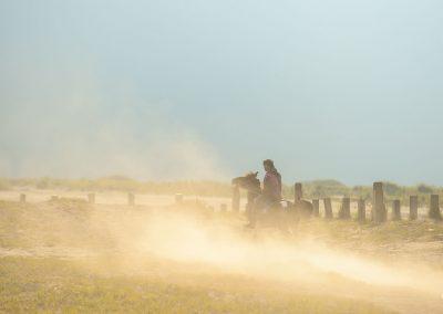 Man riding a horse creating a dust trail