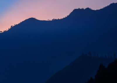 Silhouette of mountain with shape of trees in various shades of blues