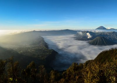 Panoramic view of Mount Bromo early morning