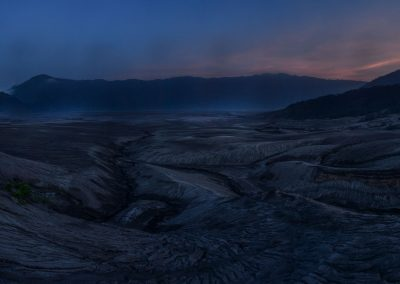 Panoramic view of sand desert at blue hour