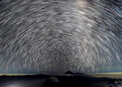 Circular star trail over Mount Bromo at night
