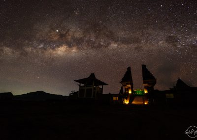 Gates of a temple in desert with milky way above