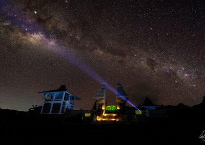 Temple under milkyway with a man flashing a light towards the sky