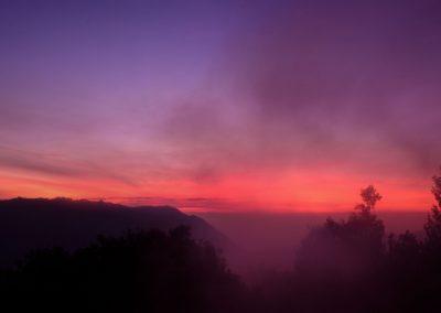 Vivid pink and purple sunrise sky