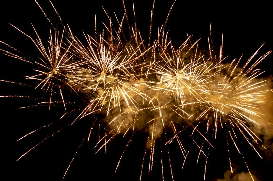 Close up of a golden firework