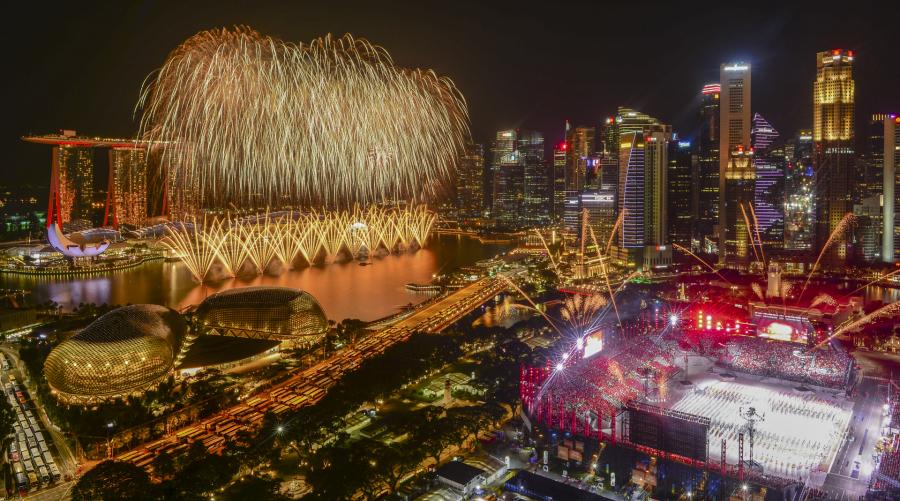 Fireworks from Stamford hotel balcony