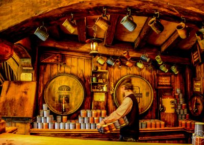 Interior of the pub in Hobbiton made of wood and with warm hue